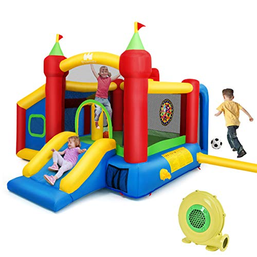 Product Image of the Costzon Inflatable Bounce House, 7-in-1 Jump and Slide Bouncer w/ Basketball...