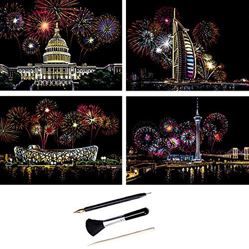ShipeeKin 4X Kratzbilder, 290 x 210 MM Weltberühmte Sehenswürdigkeiten mit Feuerwerk Wandbild, Beschichtete Bunte Kratzpapier mit Werkzeug Set