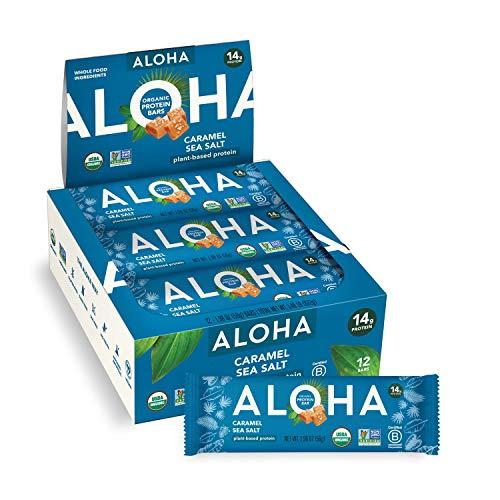 ALOHA Organic Plant Based Protein Bars - Caramel Sea Salt - 12 Count, 1.9oz Bars - Vegan, Low Sugar, Gluten-Free, Paleo, Low Carb, Non-GMO, Stevia-Free, Soy-Free, No Sugar Alcohols