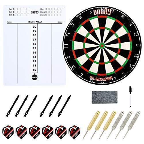 ONE80 Dartboard with Staple Free Bullseye for Maximum Scoring Potential and Less Bounce Outs, Large Scoreboard, 6 Steeltip Darts with shafts and Flights
