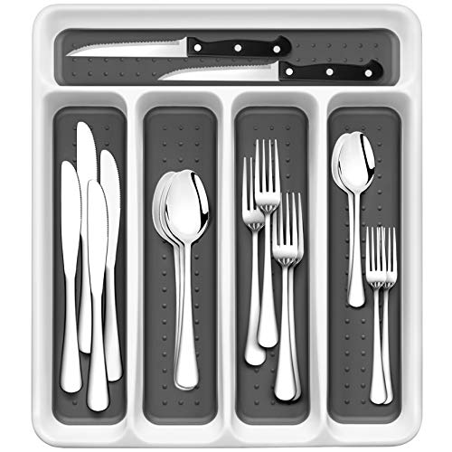 RayPard 24-Piece Silverware Set, Flatware Set Mirror Polished, Dishwasher Safe Service for 4, Include Fork/Spoon with 5-Compartment Non Slip Silverware Drawer Organizer Box Tray