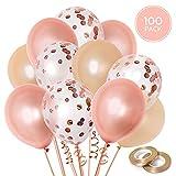 100 Globos oro rosa de látex + Cinta rosa oro | 3 colores mezclados |...
