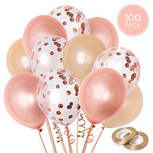 100 Globos oro rosa de látex + Cinta rosa oro | 3 colores mezclados | Boda, Cumpleaños, Baby Shower, Fiesta, Primera Comunión, Bautizo | 30 centímetros | Helio o Aire