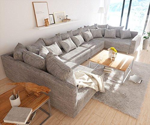 Couch Clovis XL Hellgrau Strukturstoff mit Armlehne Wohnlandschaft modular