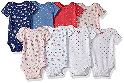 Carter's Baby Girls' 8-Pack Short-Sleeve Bodysuits, Floral Dot, 9 Months