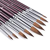 Sable Watercolor Brushes, Fuumuui 9pcs Detail to Thick Round Pointed Paint Brushes Kolinsky Superior Sable Hair Artist Brushes Perfect for Watercolor Gouache Acrylic Ink Painting