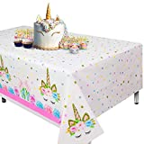 Cubierta de mesa de unicornio de 2 piezas para fiesta de cumpleaños, suministros de fiesta ideales para decoración de baby shower temática de unicornio y decoración de cumpleaños de unicornio