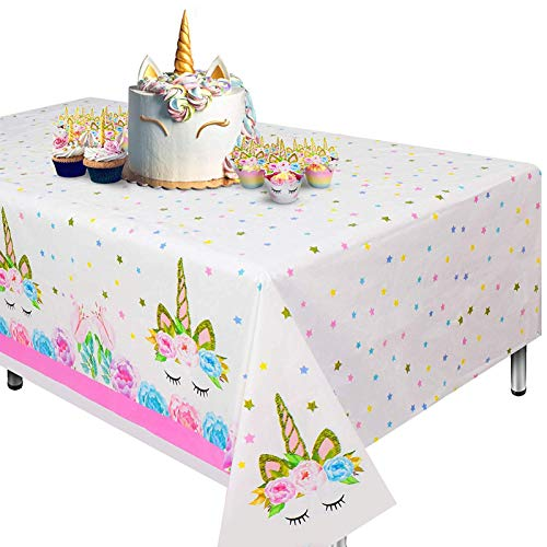 Cubierta de mesa de unicornio de 2 piezas para fiesta de cumpleaños, suministros de fiesta ideales...