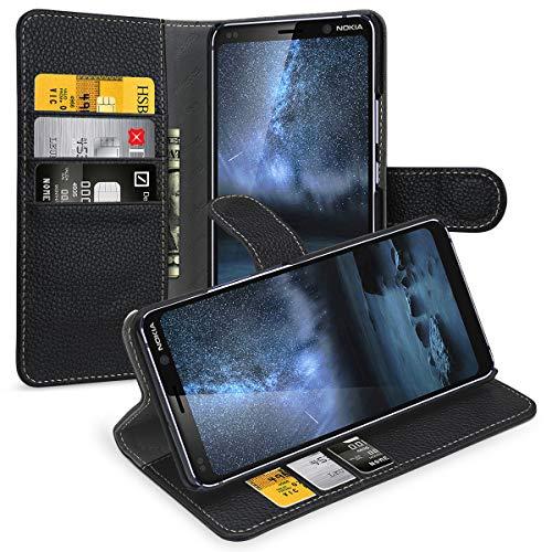 keledes Nokia 9 Pureview Hülle, Handyhülle Magnetische Hülle Leder Schutzhülle mit [Echtes Rindsleder] [Kartenfach] [Stand] Lederhülle Handytasche für Nokia 9 Pureview,Schwarz