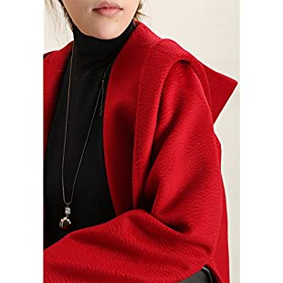 Xuanku Winter Clothing, Hats Bathrobes, Camel Wool Water Ripple, Long, And Wool Coat Female ,Xs, Red:Btc4you