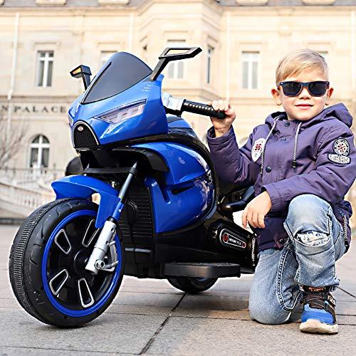 W&HH Elektro Kindermotorrad,Kinder Motocross,Trike Elektrofahrzeug Mit Licht Und Sound,Blau*