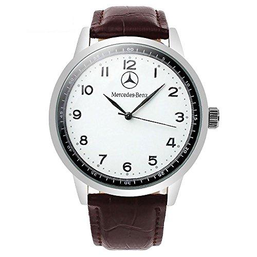 Mercedes Benz, runde Quarz-Sportarmbanduhr, weißes Zifferblatt, braunes Armband, mit Ersatzbatterie und in Geschenkverpackung.