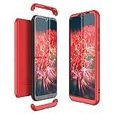 Winhoo Kompatibel mit Huawei Honor Play 8A Hülle Hardcase 3 in 1 Handyhülle 360 Grad Schutz Ultra Dünn Slim Hard Full Body Hülle Cover Backcover Schutzhülle Bumper - Rot
