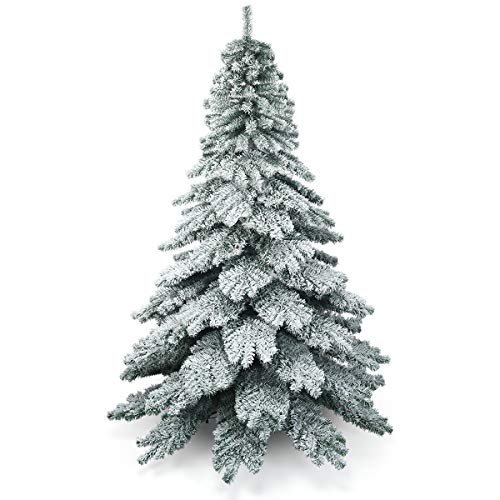 COSTWAY 6ft/7.5ft Snow Flocked Christmas Tree, Hinged Alaskan Pine Trees with Metal Stand, Luxury Artificial Xmas Full Tree for Indoor and Outdoor Decoration (Green + White, 7.5ft)