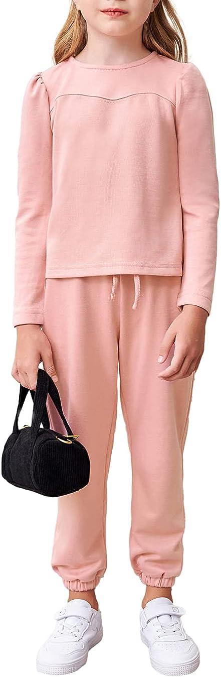 Cheap mail order specialty store Girls Long Pants Set Puff Atlanta Mall Drawstring O and Top Sleeve