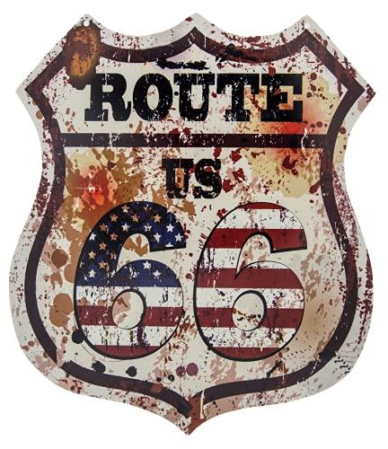 Plaque murale décorative Route 66 - Style rétro US vintage - 35 x 30 cm