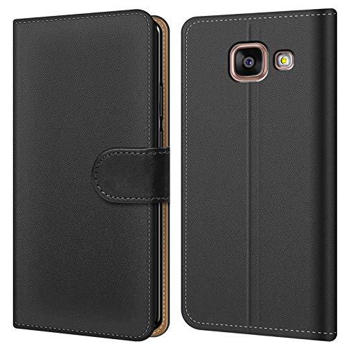 Conie BW28567 Basic Wallet Kompatibel mit Samsung Galaxy A5 2016, Booklet PU Leder Hülle Tasche mit Kartenfächer & Aufstellfunktion für Galaxy A5 2016 Hülle Schwarz