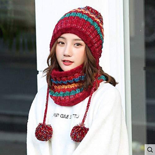 MYYLFF Bonnet Tricoté,en Hiver Hat Et Circle Foulard pour Les Femmes,Wine Red Hat Femmes Foulard Pom Pom Beanie Hat Options De Couleurs
