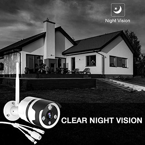 Netvue Outdoor Security Camera 1080P Waterproof Wireless WiFi Bullet Camera IR Night Vision Survinence System Works with Alexa, Two Way Audio, AI. Human Detection, Support up to 128G SD Card