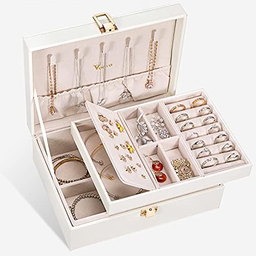 Voova Caja Joyero para Mujer, Organizador Joyas de 2 Niveles, Grande Jewelry Organizer Box de PU Cuero, Caja Joyería de...