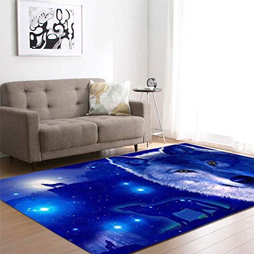 Area Carpet Rug Floor Mat 3D Wolf Mats Bedroom Playroom Living Room Boys Gift Room Decoration Football Carpets Area Rug Anti slip Flannel Rugs and Carpet No 5 120x170cm