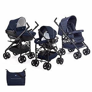 Chicco Trio Sprint Carrito de Bebé 3 Piezas con Sistema de Viaje Modular Apto de 0 a 36 Meses, Sillita de Paseo con Capazo y Silla para Coche, Ligera, Plegable y Compacta, Color Azul (Blue Passion)