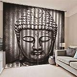 JRCURTAIN 3D Cortinas Estatua De Buda Cortinas Opacas En Poliéster para Habitacion Dormitorio Cocina Salón,220x215cm