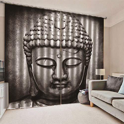 JRCURTAIN 3D Cortinas Estatua De Buda Cortinas Opacas En Poliéster para Habitacion Dormitorio Cocina Salón,150x166cm