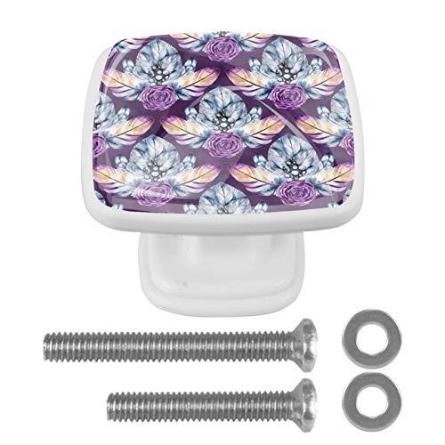 Paquete de 4 tiradores cuadrados de cristal para cajones de cocina, gabinete de cocina, relámpago oriental