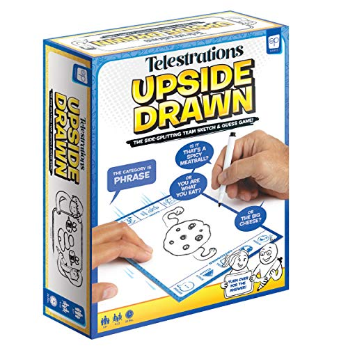 USAOPOLY Telestrations Upside Drawn | Family Board Game amp Group Game | Partner Up amp Draw Upside Down | Team Game from The Makers of Telestrations | Draw amp Guess to Clues