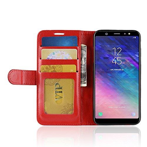 DAMAIJIA Funda Movil para Samsung A6 2018 Carcasa Cuero PU Silicona Magnetic Wallet Protector Teléfono Flip Back Cover For Samsung Galaxy A6 2018 A600 Tapa con Soporte (Red)