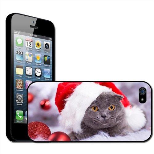 Fancy A Snuggle opsteekbare harde schaal voor Apple iPhone 5, kat met kerstmuts