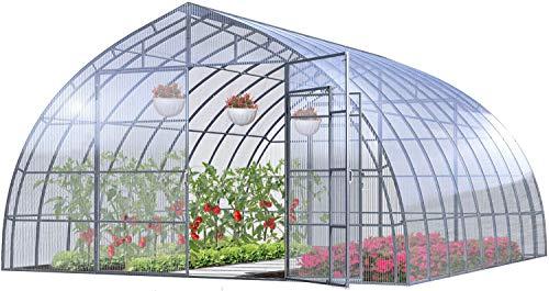 Invernadero Jardín Farmer Drop 5x10M 50M² Policarbonato Transparente 4mm, Marco Acero, Varios Modelos y Tamaños, Ideal Huerto Plantas y Cultivos