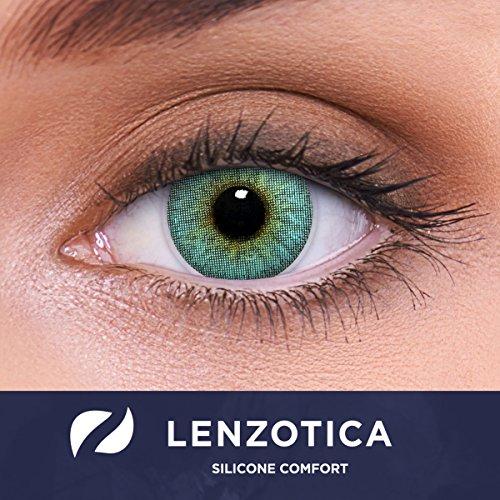 LENZOTICA Sehr stark natürlich deckende blaue Kontaktlinsen, SILICONE COMFORT farbig CHRYSTAL BLUE + Behälter von LENZOTICA I 1 Paar (2 Stück) I DIA 14.00 I ohne Stärke I 0.00 Dioptrien