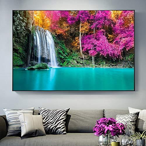 KWzEQ Imprimir en Lienzo Cascada para la decoración del hogar Cuadros Arte de la Pared poster70x105cmPintura sin Marco