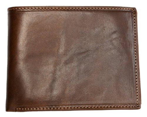Portafoglio Giglio Fiorentino marrone realizzato in pelle naturale resistente