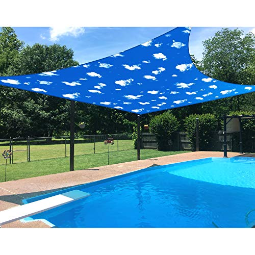Patio 12' x 12' Standard Size Square Sun Shade Sail Waterproof Cover Blue Sky White Cloud UV Block Durable Awning Canopy Outdoor Garden Backyard Deck
