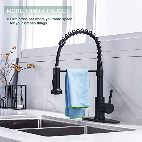 Kitchen Faucet, Kitchen Faucets with Pull Down Sprayer WEWE Sus304 Stainless Steel Matte Black Industrial Single Handle One Hole Or 3 Hole Faucet for Farmhouse Camper Laundry Utility Rv Wet Bar Sinks
