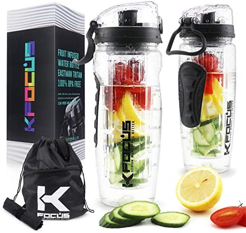 KFOCUS 32oz Fruit Infuser Sports Water Bottle for Delicious Hydration Motivational Clear Water product image