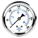 New Stainless Steel Liquid Filled Pressure Gauge WOG Water Oil Gas 0 to 300 PSI Center Back Mount 0-300 1/4' NPT Male 2.5' FACE DIAL for Compressor Hydraulic AIR Tank