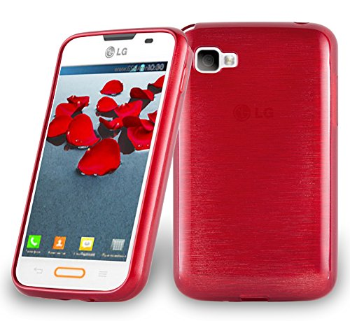Cadorabo Funda para LG L4 II (2.Gen E740) en Rojo - Cubierta Proteccíon de Silicona TPU Delgada e Flexible con Antichoque - Gel Case Cover Carcasa Ligera