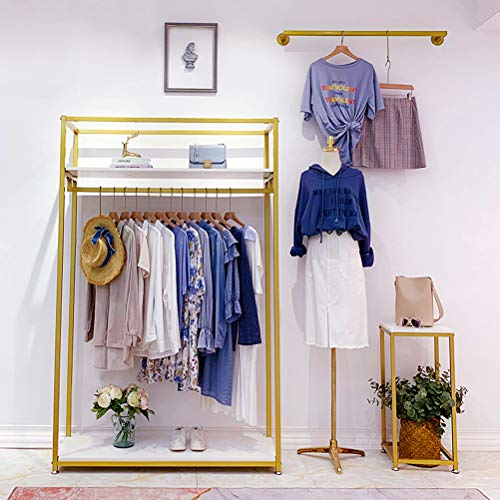 Metal Clothes Display Rack Free Standing Garment Clothing Rack with Wooden Shelves Cover Heavy Duty Closet Hanging Rack Gold (47.2' Lx15.7 Dx70.9 H)