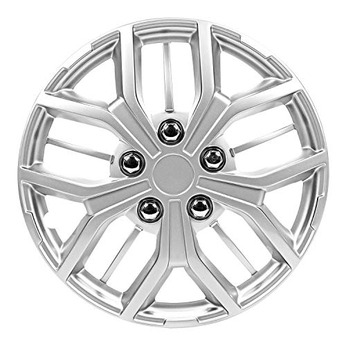 Pilot Automotive WH142-15S 15Inch Super Sport Silver Universal Hubcap Wheel Covers for Cars | Set of 4 | Fits Toyota Volkswagen VW Chevy Chevrolet Honda Mazda Dodge Ford and Others