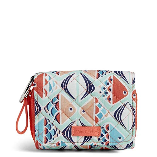 Vera Bradley Women's Signature Cotton Card Case Wallet with RFID Protection, Go Fish