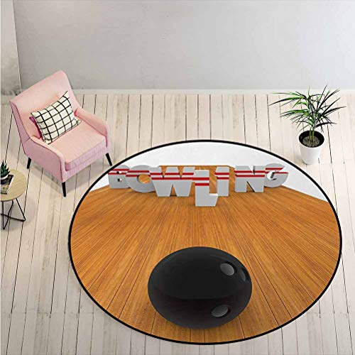 LiHomecurtain Carpet Bowling Alley with Skittles and Ball in Position Hobby Print Children's Fun Area Rug for Bedroom Floor Sofa Living Room Pale Brown Black White Diameter - 6 Feet