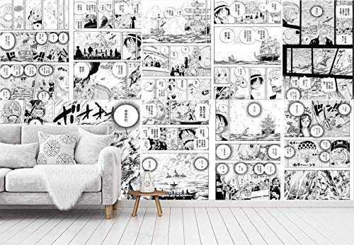 Blovsmile Black and White Japanese Manga Anime One Piece Luffy Wandbild Tapete 3D Fototapete Schlafzimmer Schlafsaal Raumdekoration-250 * 200