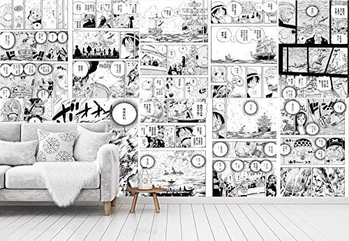Blovsmile Black and White Japanese Manga Anime One Piece Luffy Boy 'Room 3D Foto tapeten Wohnzimmer Raum Wallpaper Wandtapeten-200 * 150
