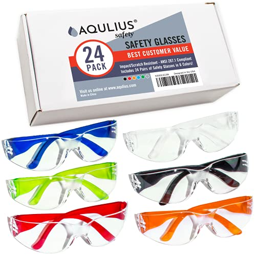 24 Pack of Safety Glasses (24 Protective Goggles in 6 Different Colors) Anti-Fog Crystal Clear Eye Protection - Perfect for Nurses, Construction, Shooting, Lab Work, More!