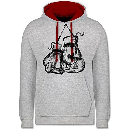 Shirtracer Kampfsport - Boxhandschuhe - M - Grau meliert/Rot - Kampfsport - JH003 - Hoodie zweifarbig und Kapuzenpullover für Herren und Damen