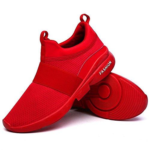 Zapatos clásicos de los hombres zapatos de las mujeres cómodos transpirables no de cuero casual ligeros zapatos, color Rojo, talla 46 EU